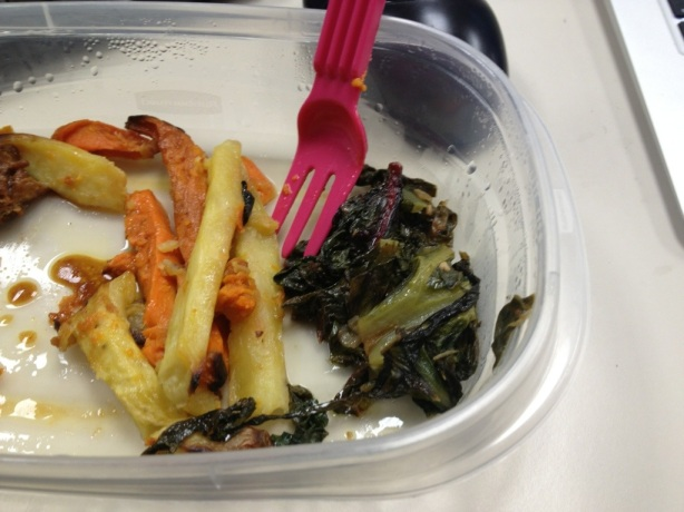 White and Regular Sweet Potatoes with Rainbow Chard