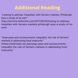 References on farmer's  market  inequities