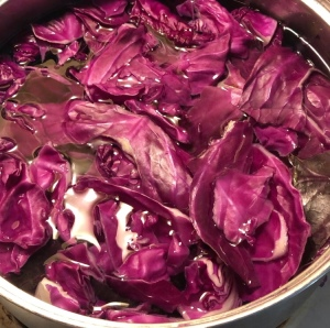 Picture of red cabbage boiling